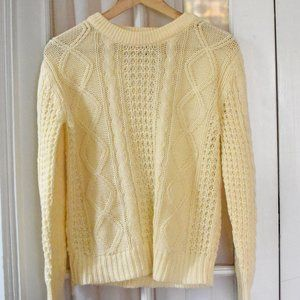 Vintage Cream Cable Knit Sweater Small